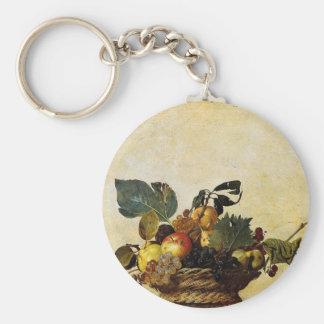 Caravaggio - Korb der Frucht - klassische Grafik Schlüsselanhänger