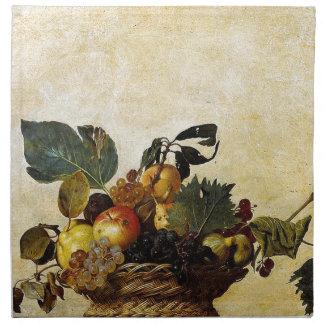 Caravaggio - Korb der Frucht - klassische Grafik Stoffserviette
