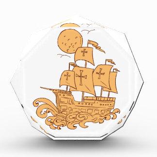 Caravel Segeln-Schiffs-Mond-Zeichnen Acryl Auszeichnung