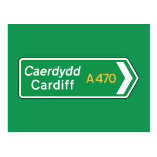 Cardiff, BRITISCHES Verkehrsschild Postkarte