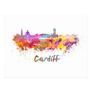 Cardiff skyline im Watercolor Postkarte