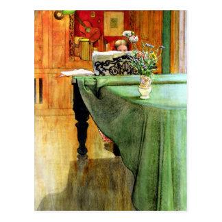 Carl Larsson: Brita am Klavier Postkarte