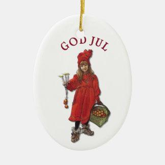 Carl Larsson-Gott Jul mit Brita - frohe Keramik Ornament