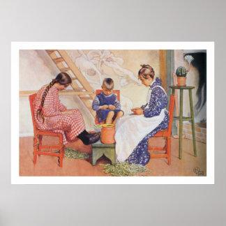 Carl Larsson schälten sie Erbsen-Kunst-Druck Poster