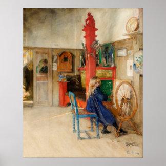 Carl Larsson: Spinnrad Plakatdruck