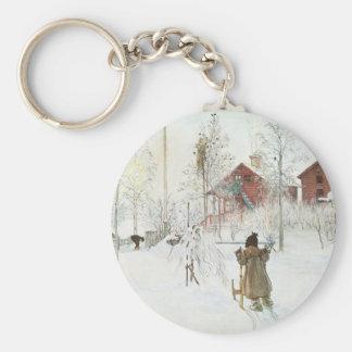 Carl Larsson - Vorgarten und das Wäsche-Haus Schlüsselanhänger