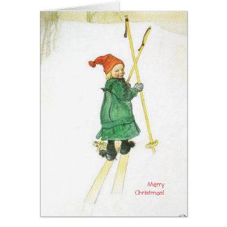 Carl Larsson-Weihnachten Esbjorn auf Skis Grußkarte