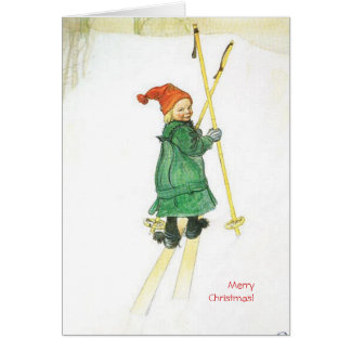 Carl Larsson-Weihnachten Esbjorn auf Skis Karte