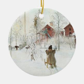 Carl Larsson-Weihnachten in Schweden Rundes Keramik Ornament