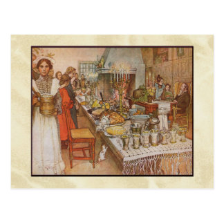 Carl Larsson-Weihnachtsabends-Abendessen Postkarte