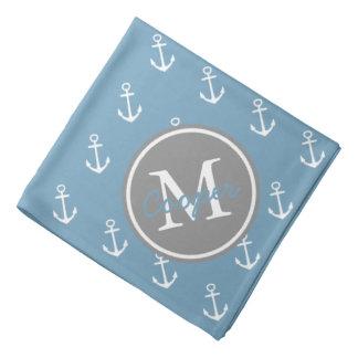 Carolina blau und Tauben-graues Anker-Monogramm Kopftuch