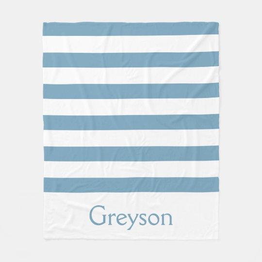 Carolina blau und weiße Streifen personalisiert Fleecedecke