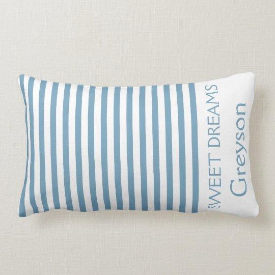 Carolina blau und weiße Streifen personalisiert Lendenkissen