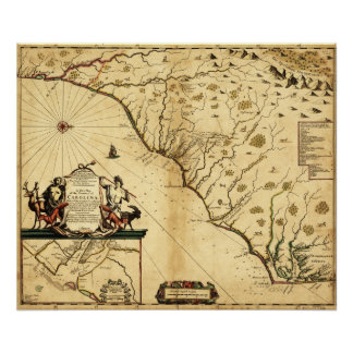 Carolinas mit Norden zur RightPanoramic Karte Poster