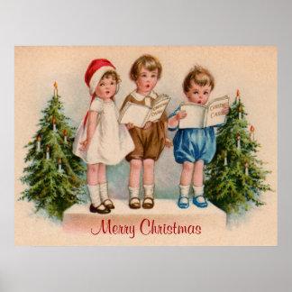 Caroling scherzt frohe Weihnacht-Plakat Poster