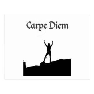 Carpe Diem kletterndes Gipfel Postkarte