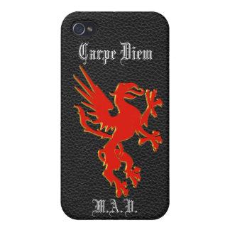 Carpe Diem roter Drache auf schwarzem Lederblick Schutzhülle Fürs iPhone 4