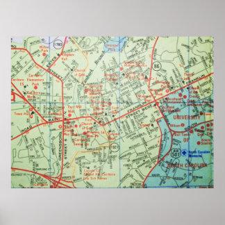 Carrboro und Chapel Hill, Vintages Karten-Plakat Poster