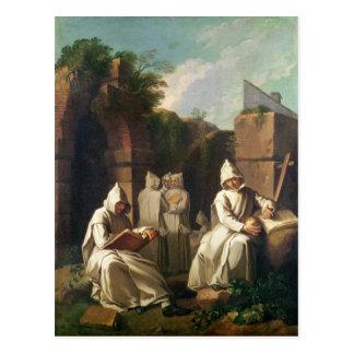 Carthusian Mönche in der Meditation Postkarte