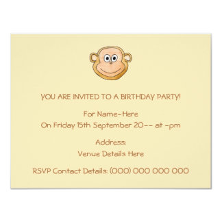 Cartoon-Affe, Geburtstag 10,8 X 14 Cm Einladungskarte