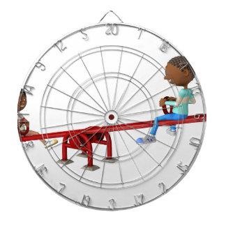 Cartoon-afrikanische amerikanische Kinder auf Dartscheibe