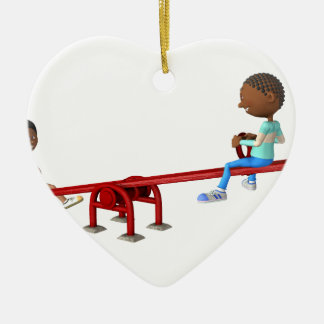 Cartoon-afrikanische amerikanische Kinder auf Keramik Ornament