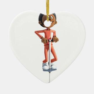 Cartoon-afrikanischer amerikanischer Junge, der Keramik Ornament