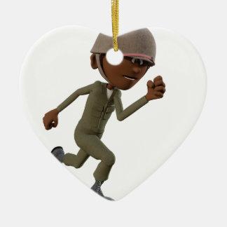 Cartoon-afrikanischer amerikanischer keramik Herz-Ornament