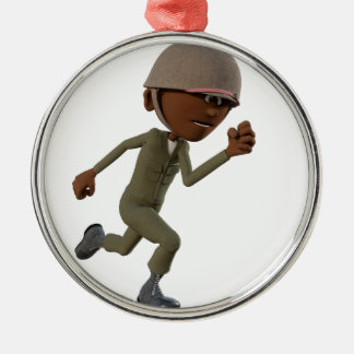 Cartoon-afrikanischer amerikanischer rundes silberfarbenes ornament