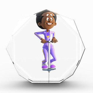 Cartoon-afrikanisches amerikanisches Mädchen auf Acryl Auszeichnung