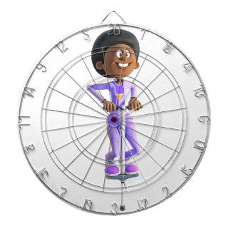 Cartoon-afrikanisches amerikanisches Mädchen auf Dartscheibe