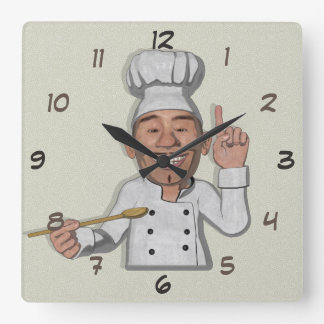 Cartoon-Art des Kochs-Restaurant-2 Quadratische Wanduhr
