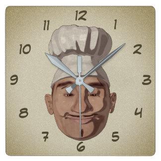 Cartoon-Art des Kochs-Restaurant-3 Quadratische Wanduhr