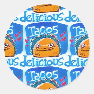 Cartoon-Artillustration des Tacos köstliche Runder Aufkleber
