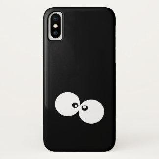 Cartoon-Augen, schrullige Augen - Schwarz-weiß iPhone X Hülle