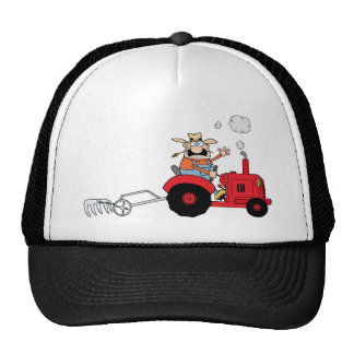 Cartoon-Bauer, der einen roten Traktor fährt Trucker Caps