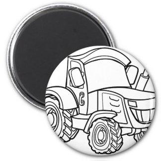 Cartoon-Bauernhof-Traktor Runder Magnet 5,7 Cm