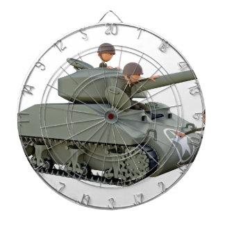 Cartoon-Behälter und Soldaten an der Leichtigkeit Dartscheibe