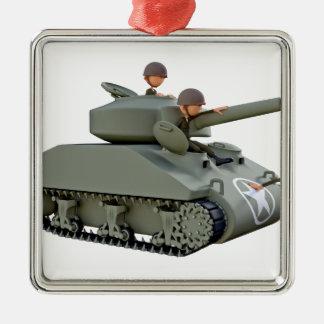 Cartoon-Behälter und Soldaten an der Leichtigkeit Quadratisches Silberfarbenes Ornament