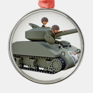 Cartoon-Behälter und Soldaten an der Leichtigkeit Rundes Silberfarbenes Ornament