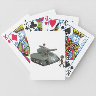 Cartoon-Behälter und Soldaten, die vorwärts gehen Bicycle Spielkarten