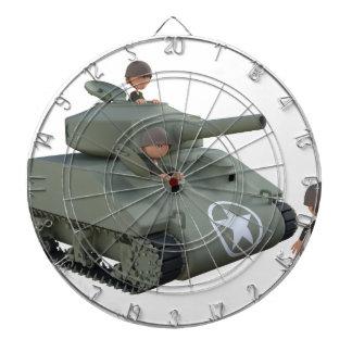 Cartoon-Behälter und Soldaten, die vorwärts gehen Dartscheibe