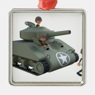 Cartoon-Behälter und Soldaten, die vorwärts gehen Quadratisches Silberfarbenes Ornament