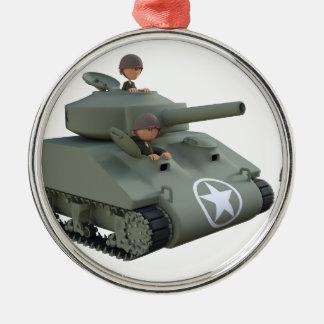 Cartoon-Behälter und Soldaten, die vorwärts gehen Rundes Silberfarbenes Ornament
