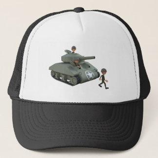 Cartoon-Behälter und Soldaten, die vorwärts gehen Truckerkappe