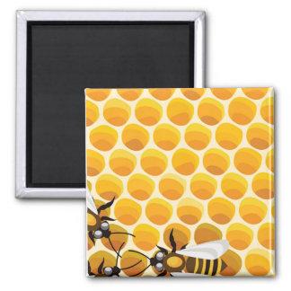 Cartoon-Bienen u. Bienenwabe Quadratischer Magnet