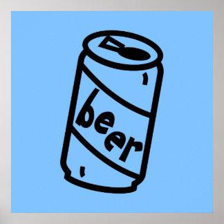 Cartoon-Bier-Dose - irgendwelche Team-Farben Posterdruck
