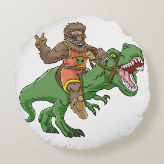 Cartoon BigfootCartoon t rex-T rex Bigfoot Rundes Kissen