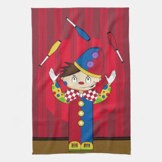 Cartoon Bigtop jonglierender Zirkus-Clown Handtuch