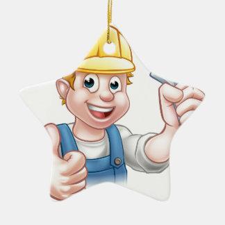 Cartoon-Charakter-Klempner oder Mechaniker Keramik Ornament